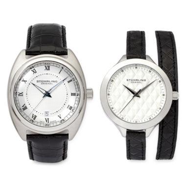 jcpenney.com | Stührling® Original Black Leather Strap Watch