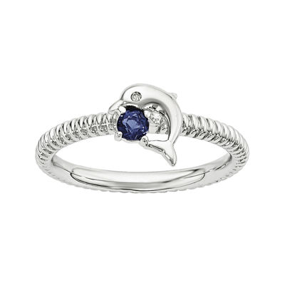 Lab-Created Sapphire and Diamond-Accent Sterling Silver Stackable Dolphin Ring