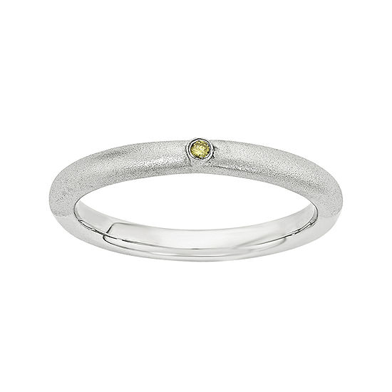 Personally Stackable Color-Enhanced Yellow Diamond-Accent Sterling Silver Stackable Ring