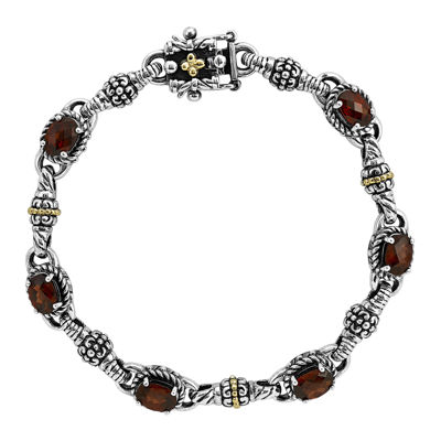 Shey Couture Genuine Garnet Sterling Silver and 14K Yellow Gold Bracelet