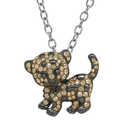 Animal Planet™ Crystal Sterling Silver Endangered Amur Leopard Pendant Necklace