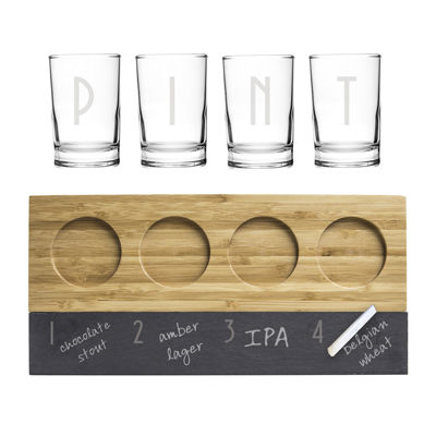 Personalized Bamboo & Slate Craft Beer Flight Tasting Set