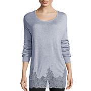 Worthington® Long-Sleeve Lace-Trim Sweater - Tall