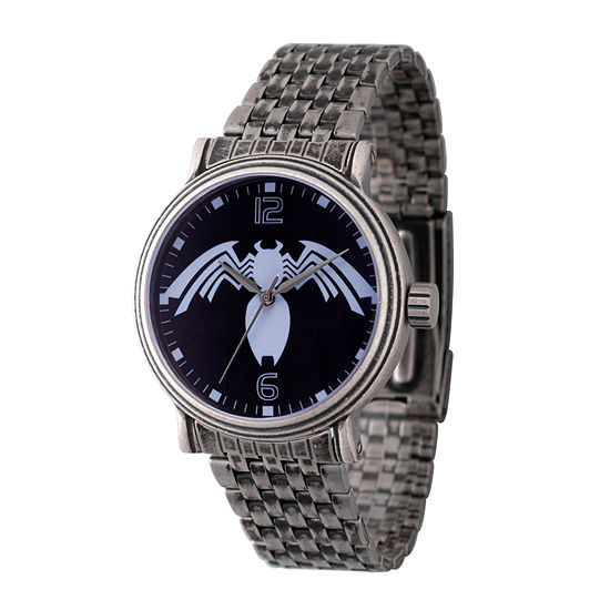 Marvel Spiderman Mens Silver Tone Stainless Steel Strap Watch-Wma000218