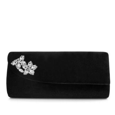 Gunne Sax by Jessica McClintock Vera Velvet Brooch Clutch Evening Bag