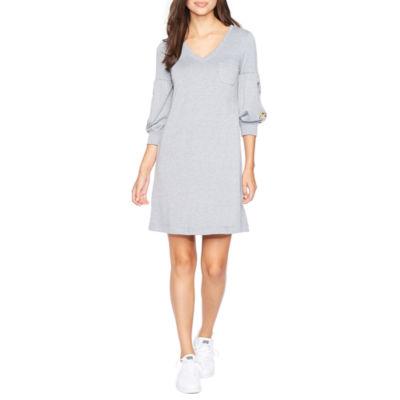 Vivi By Violet Weekend 3/4 Sleeve Embroidered Shift Dress