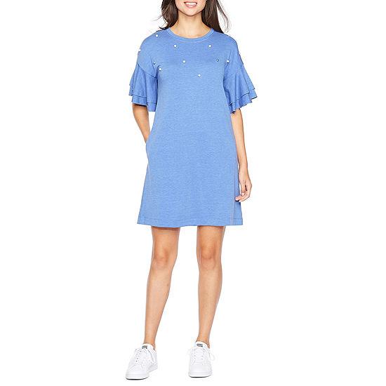 Vivi By Violet Weekend Short Sleeve Embellished Shift Dress