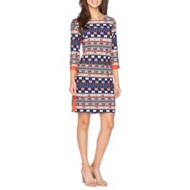 R & K Originals 3/4 Sleeve Pattern Shift Dress