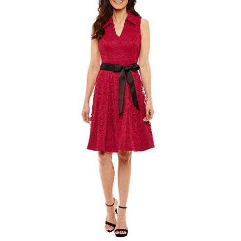 Robbie Bee Women's Sleeveless Shirt Dress-Petites