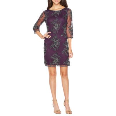 MSK 3/4 Sleeve Beaded Floral Sheath Dress
