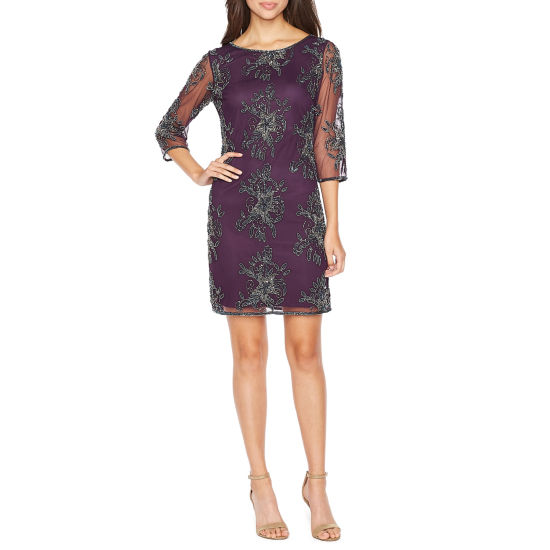 MSK 3/4 Sleeve Beaded Floral Sheath Dress