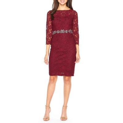 Jackie Jon 3/4 Sleeve Embellished Sheath Dress