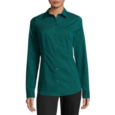 Worthington Long Sleeve Button-Front Shirt - Tall