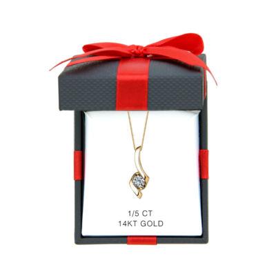 Sirena® 1/5 CT. Diamond 14K Yellow Gold Pendant Ribbon Necklace