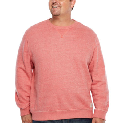 IZOD Long Sleeve Saltwater  Terry Crew Long Sleeve Crew Neck T-Shirt-Big and Tall