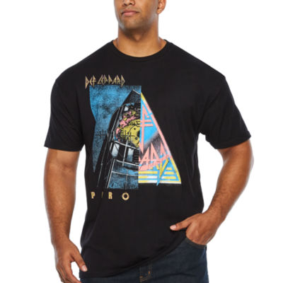 Def Leppard Split Screen Mens Crew Neck Short Sleeve Graphic T-Shirt-Big and Tall