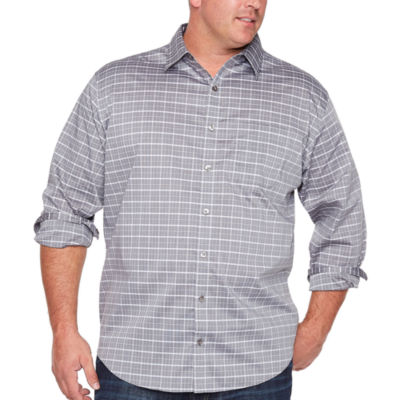 Van Heusen Traveler Stretch Non Iron Long Sleeve Checked Button-Front Shirt-Big and Tall