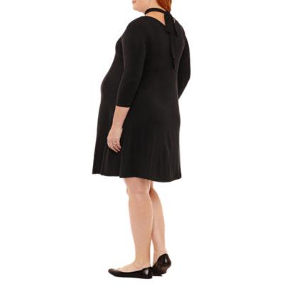 Planet Motherhood 3/4 Sleeve A-Line Dress - Plus Maternity