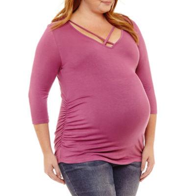 Planet Motherhood 3/4 Sleeve V Neck T-Shirt-Plus