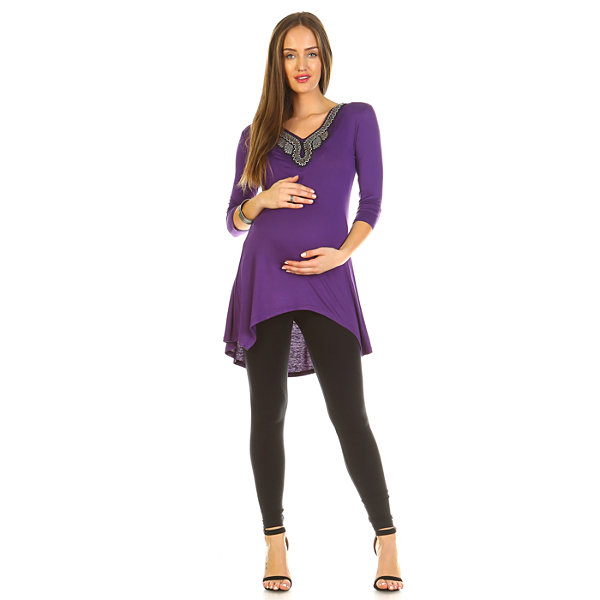White Mark 'Sofia' Embellished Tunic- Maternity