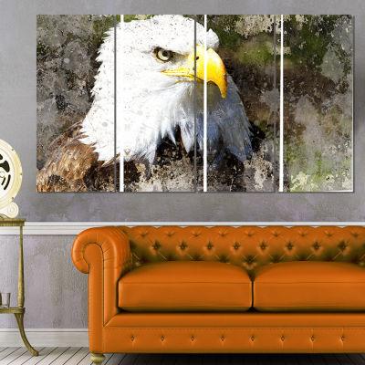 Designart Eagle Head With Textures Animal Canvas Art Print - 4 Panels