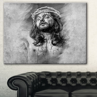 Designart Jesus Christ Abstract Portrait Canvas Print