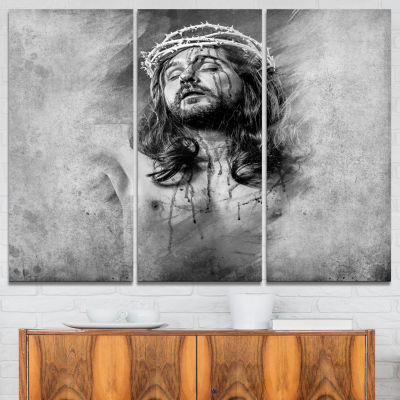 Designart Jesus Christ Abstract Portrait Canvas Print - 3 Panels