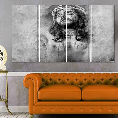 Designart Jesus Christ Abstract Portrait Canvas Print - 4 Panels