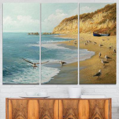 Design Art The Calm Beach Landscape Painting Canvas Print - 3 Panels