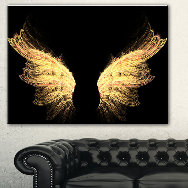 Design Art Hell Gold Wings Abstract Canvas Art Print