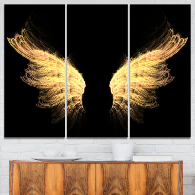 Designart Hell Gold Wings Abstract Canvas Art Print - 3 Panels