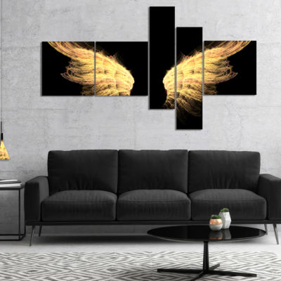 Designart Hell Gold Wings Abstract Canvas Art Print - 5 Panels