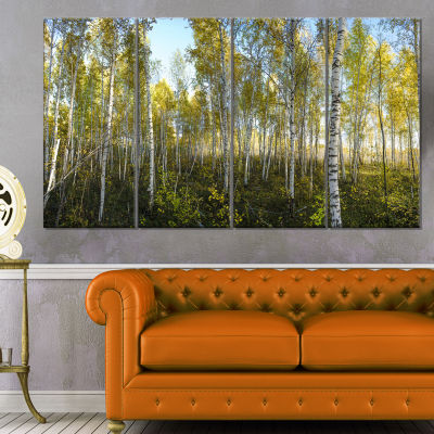 Designart Green Autumn Trees Landscape PhotographyCanvas Print - 4 Panels