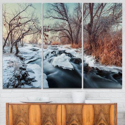 Designart Ukraine Winter Forest Landscape Photography Canvas Print - 3 Panels