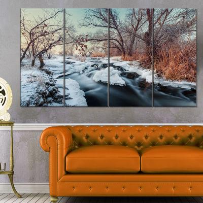 Designart Ukraine Winter Forest Landscape Photography Canvas Print - 4 Panels
