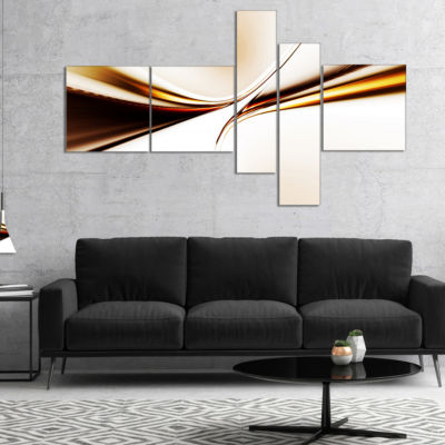 Designart Dynamic Golden Waves Abstract Canvas ArtPrint - 5 Panels