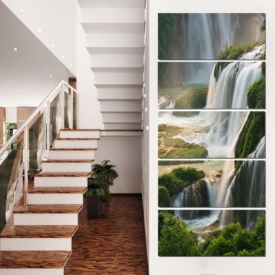 Designart Detian Waterfall Landscape PhotographyCanvas Art Print - 5 Panels