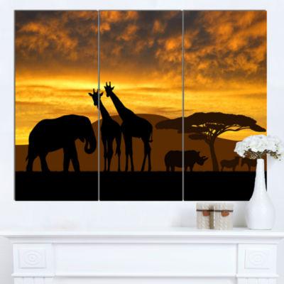 Designart Giraffes And Elephant And Rhino AfricanCanvas Art Print - 3 Panels