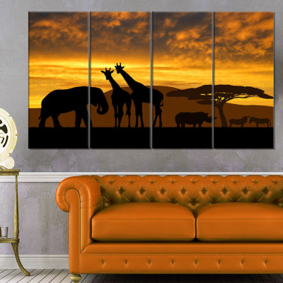 Design Art Giraffes And Elephant And Rhino African Canvas Art Print - 4 Panels