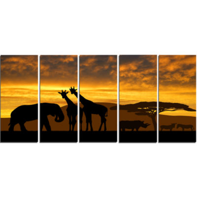 Design Art Giraffes And Elephant And Rhino African Canvas Art Print - 5 Panels