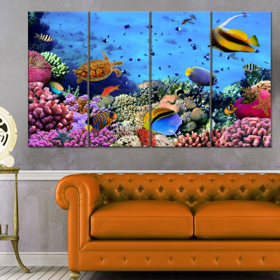 Designart Coral Colony On Reef Egypt Animal Wall Art - 4 Panels