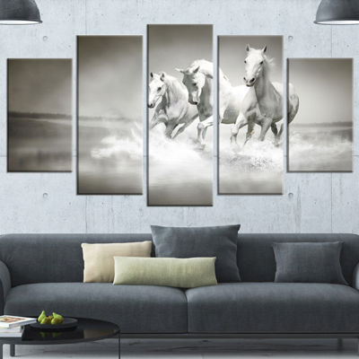 Designart Horses Running Through Water Animal WallArt - 5 Panels