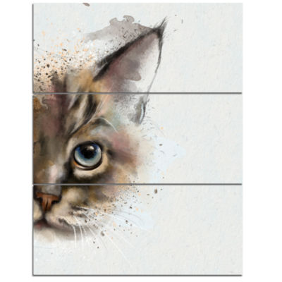 Design Art Cat Half Face Watercolor Animal Canvas Art Print - 3 Panels
