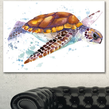 Design Art Brown Sea Turtle Watercolor Contemporary Animal Art Canvas