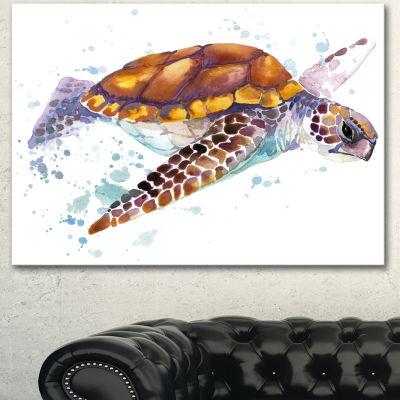 Designart Brown Sea Turtle Watercolor ContemporaryAnimal Art Canvas