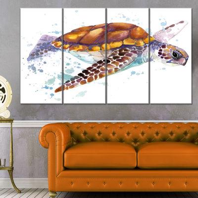 Designart Brown Sea Turtle Watercolor ContemporaryAnimal Art Canvas - 4 Panels