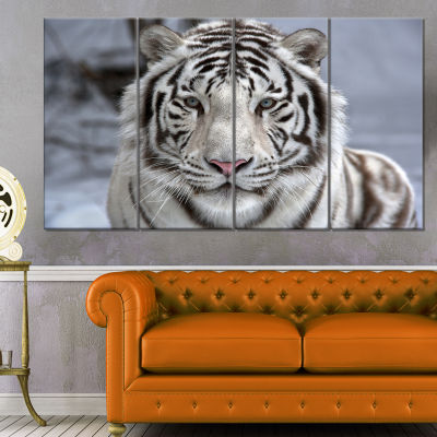 Design Art Face To Face White Bengal Tiger Abstract Canvas Art Print - 4 Panels