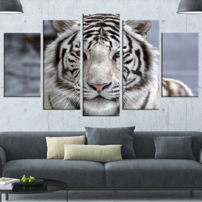 Design Art Face To Face White Bengal Tiger Abstract Canvas Art Print - 5 Panels
