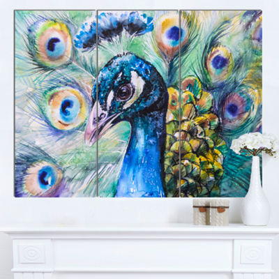 Designart Beautiful Peacock Watercolor Abstract Canvas Art Print - 3 Panels
