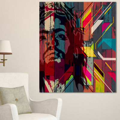 Designart Jesus Over Abstract Wooden Design CanvasArt